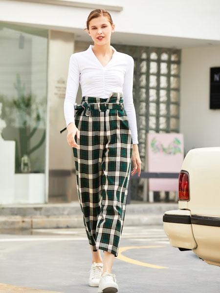 衣艾女装品牌2019秋冬绿色格子休闲裤