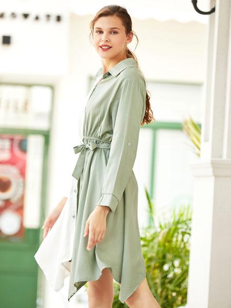 衣艾女装品牌2019秋冬浅绿白色撞色不规则裙