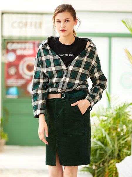 衣艾女装品牌2019秋冬绿色格子衬衫