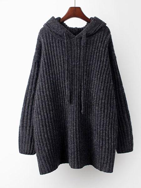 司音女装品牌2019秋冬黑色羊毛衫