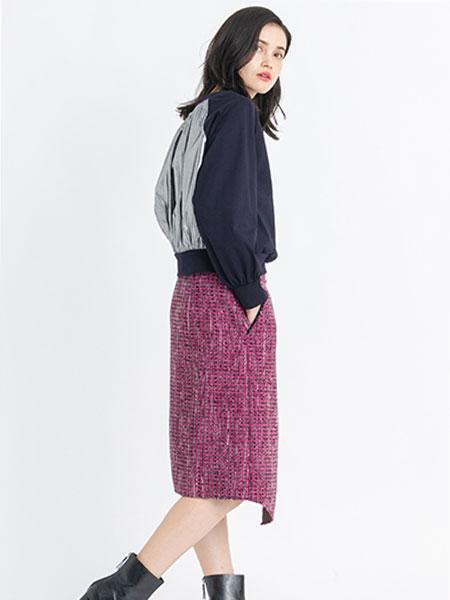 LANVIN En Bleu���H品牌品牌2019秋冬撞色上衣��裙