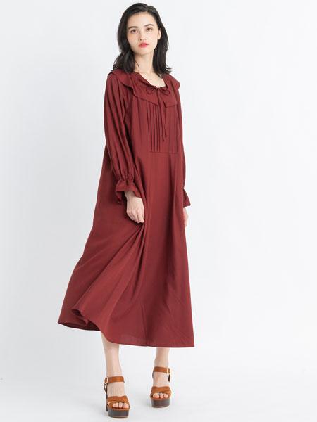 LANVIN En Bleu国际品牌2019秋冬红色裙子