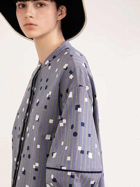 意澳女装品牌2019秋冬蓝染 圆点印花 长袖 衬衫