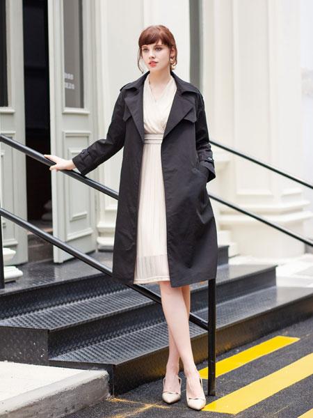 秋之恋女装品牌2019春夏黑色风衣