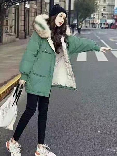 欧琳梵女装品牌2019秋冬绿色加绒外套