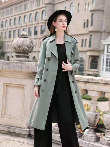 欧琳梵女装品牌2019秋冬浅绿色大衣