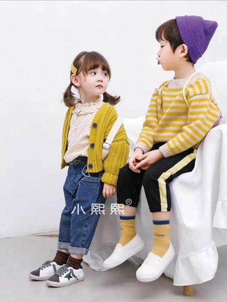 熙熙布衣童装品牌2019秋冬黄色针织羊毛衫