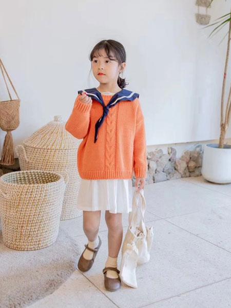 熙熙布衣童装品牌2019秋冬橙色羊毛衫