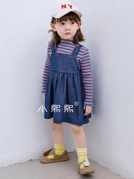 熙熙布衣童装品牌2019秋冬牛仔色吊带裙