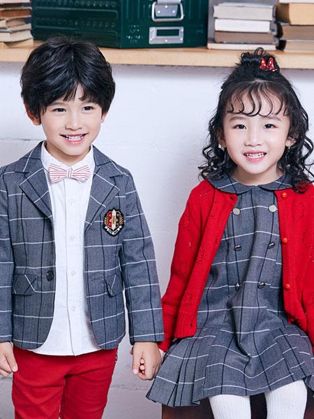 嗒嘀嗒童装品牌2019秋冬三件套男童女童格子西装套装