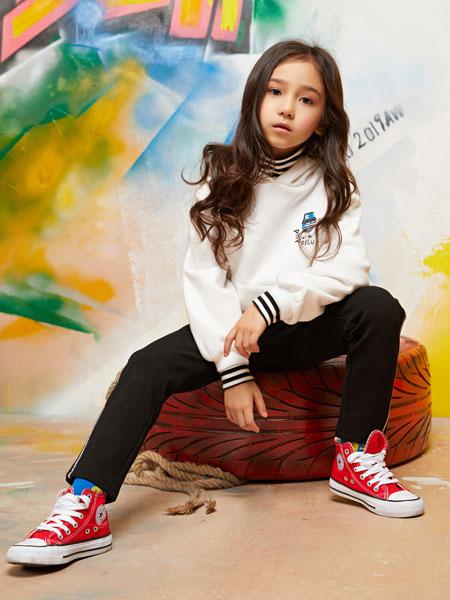 泡泡噜童装品牌2019秋冬洋气时髦套头卫衣韩版宽松长款