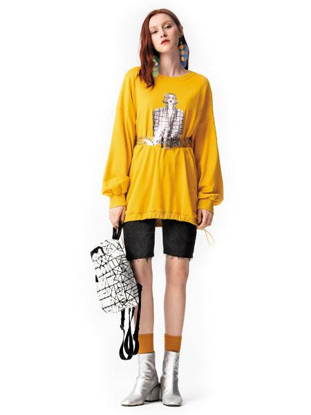 欧伊力女装品牌2019秋冬黄色印花T恤
