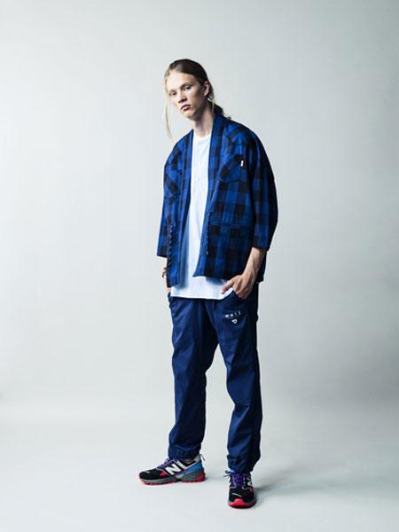WHIZ LIMITED男装品牌2019秋冬蓝色格子衬衫