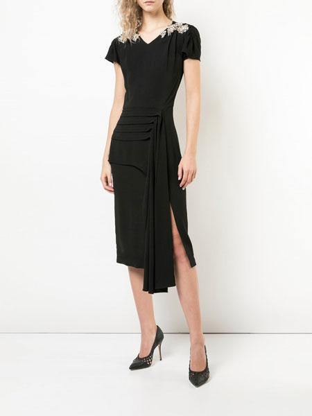 Jason Wu吴季刚女装品牌2019春夏新款钉珠时尚短袖性感V领开叉连衣裙