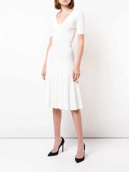 Jason Wu吴季刚女装品牌2019春夏新款高腰显瘦V领法国小众连衣裙