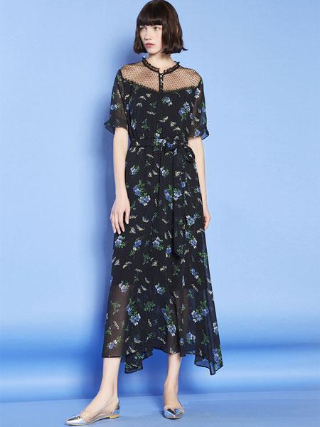 mia mia女装品牌2019春夏新款短袖雪纺碎花长款大摆连衣裙显瘦