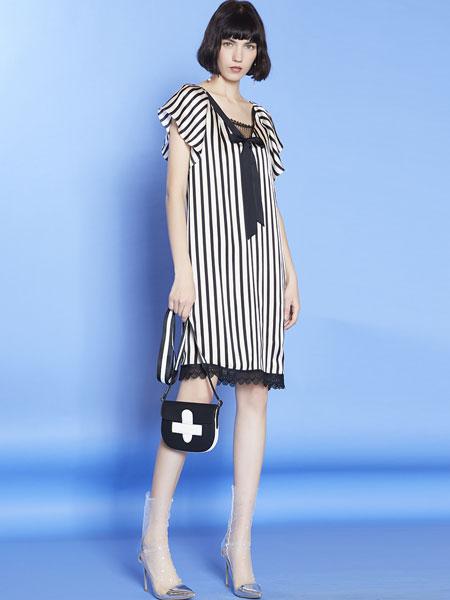 mia mia女装品牌2019春夏新款时尚气质修身中长款显瘦条纹连衣裙