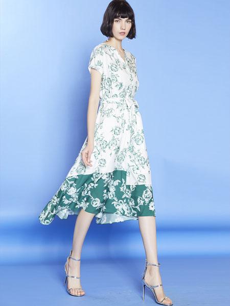 mia mia女装品牌2019春夏新款v领雪纺中长款印花收腰显瘦气质连衣裙