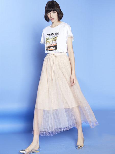 mia mia女装品牌2019春夏新款网纱半身裙优雅显瘦百褶裙