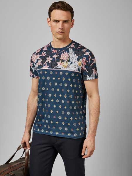 Ted Baker休闲品牌2019春夏百搭圆领短袖T恤