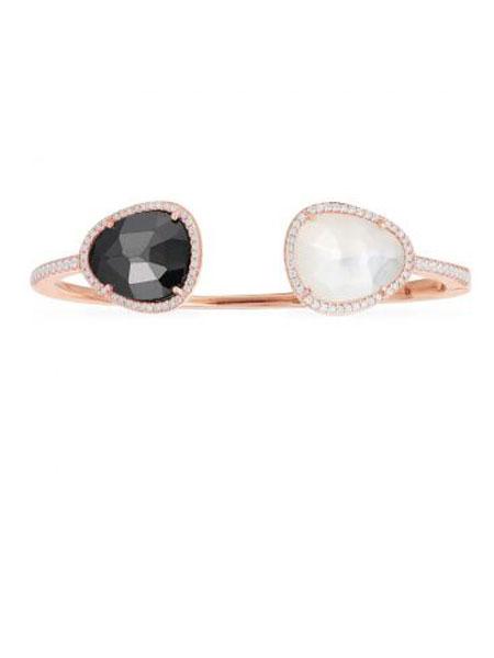 APM国际品牌粉金色纯银黑色赤铁矿垂坠耳环