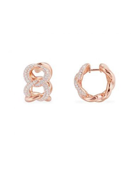 APM国际品牌粉金色纯银锁链耳环