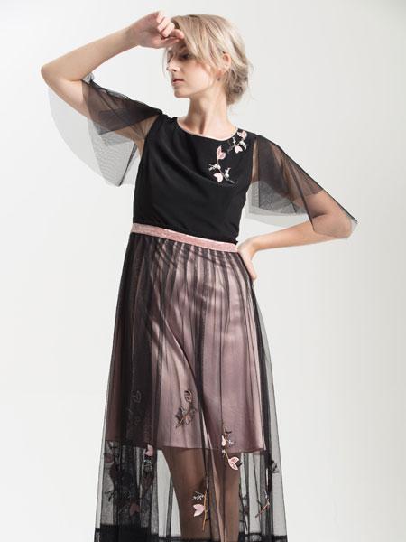 ANOBLIR女装品牌2019秋季黑色网纱连衣裙