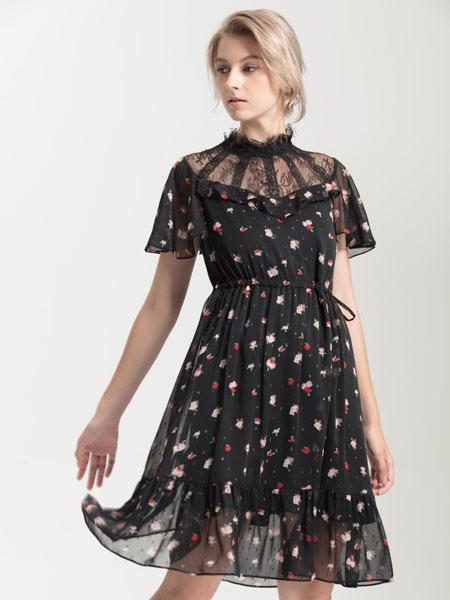 ANOBLIR女装品牌2019秋季黑色碎花连衣裙