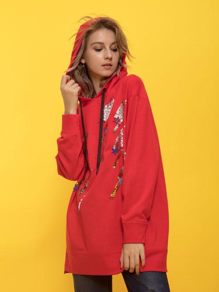 ANOBLIR女装品牌2019秋季红色连帽卫衣