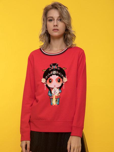 ANOBLIR女装品牌2019秋季红色卡通印花卫衣