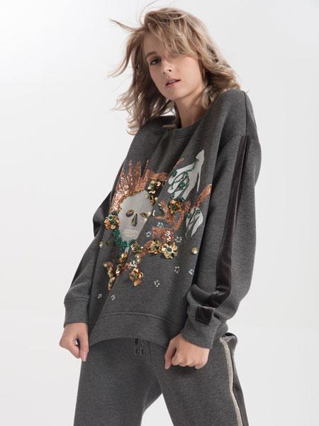 ANOBLIR女装品牌2019秋季灰色卡通印花卫衣