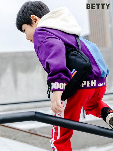 贝蒂小羊童装品牌2019秋冬拼色棉质休闲运动裤新款男童长裤