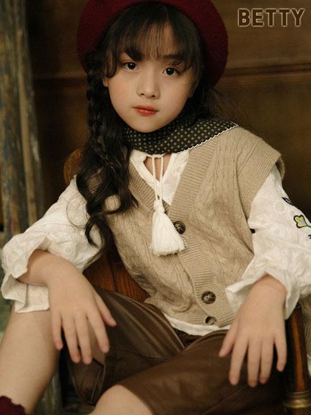 贝蒂小羊童装品牌2019秋冬坎肩背心针织棉开衫宽松V领马夹