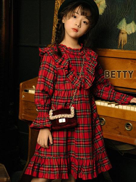 贝蒂小羊童装品牌2019秋冬法式复古收腰气质百褶连衣裙