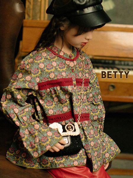贝蒂小羊童装品牌2019秋冬碎花圆领系带宽松长袖T恤花边裙