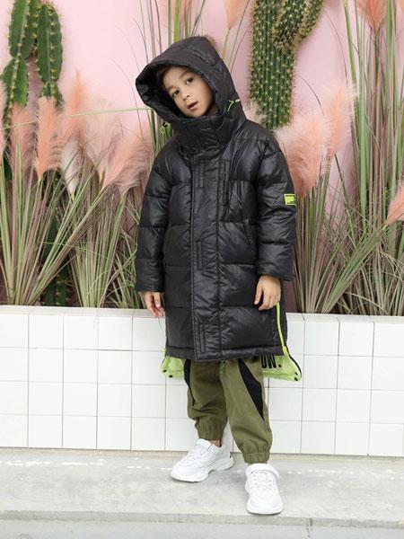 芭乐兔童装品牌2019秋冬白鸭绒连帽宽松羽绒服