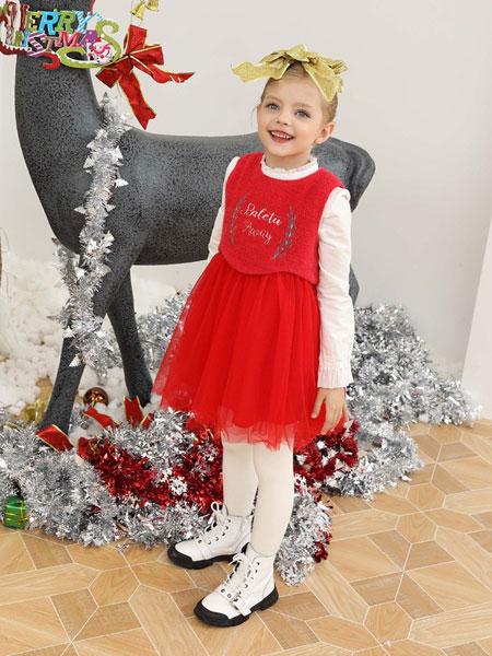 芭乐兔童装品牌2019秋冬女童加厚加绒假两件背心裙