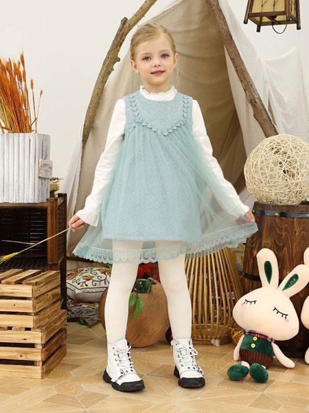 芭乐兔童装品牌2019秋冬新款长袖洋气拼接连衣裙