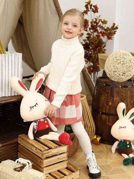 芭乐兔童装品牌2019秋冬新款中大童毛线衫纯色百搭高领