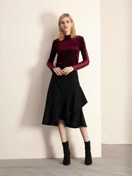 巴丽景女装品牌2019秋冬红色裙子