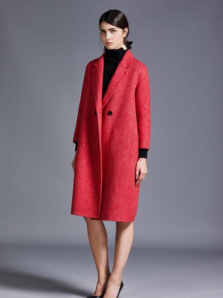尼赫菲女装品牌2019秋冬红色大衣