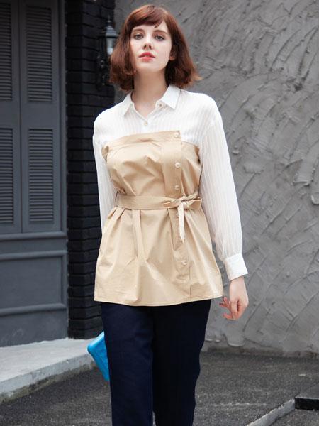 秋之恋女装品牌2019秋季时髦洋气套装假两件条纹连衣裙