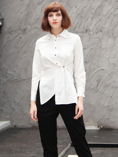 秋之恋女装品牌2019秋季百搭简约修身长袖白色衬衣不规则