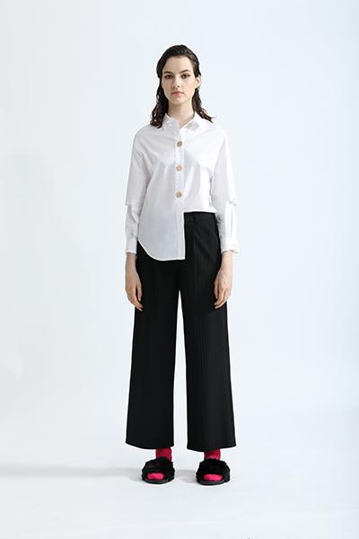丹比奴女装品牌2019秋冬新款宽松时尚设计感圆领长袖衬衣