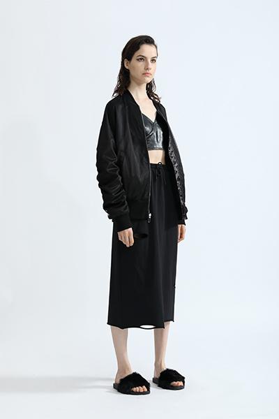 丹比奴女装品牌2019秋冬个性拼接中长款宽松棒球服外套