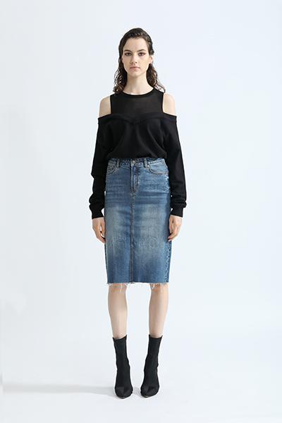 丹比奴女装品牌2019秋冬新款显瘦毛边直筒加小码职业包臀裙