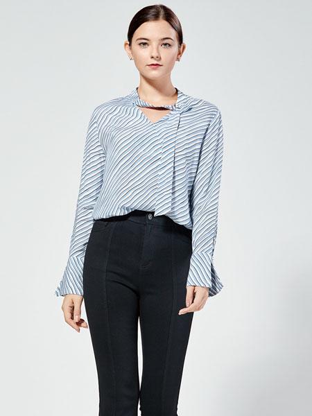 布伦圣丝女装品牌2019秋冬新款V领条纹休闲长袖衬衫