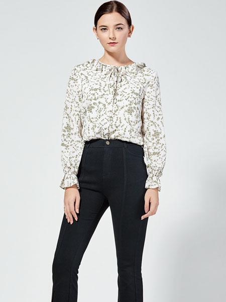 布伦圣丝女装品牌2019秋冬韩版宽松荷叶边系带印花衬衫