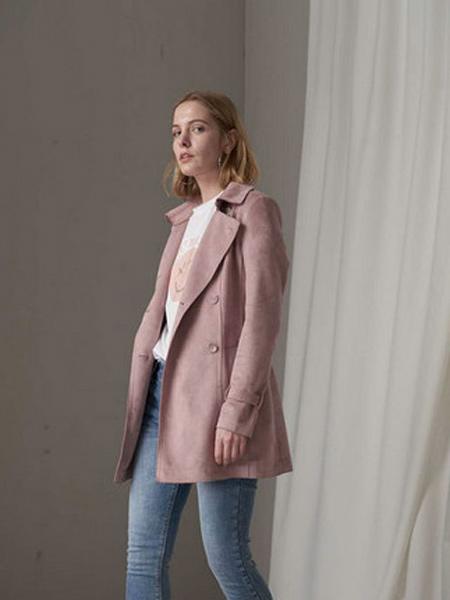 华丹尼女装品牌2019秋季女性休闲中长款西装外套