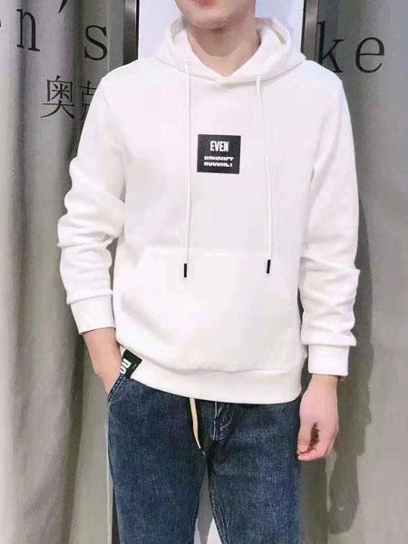 奥克男装品牌2019秋冬白色卫衣